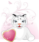 Little tiger with heart and floral ornament Stock Photography