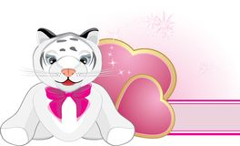 Little tiger with pink bow and hearts. Banner Stock Photos