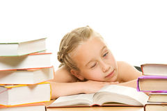 Little tired schoolgirl Royalty Free Stock Photos