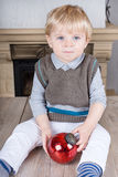 Little toddler boy with Christmas  balls Stock Photography
