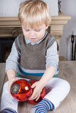 Little toddler boy with Christmas  balls Stock Photo