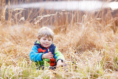 Little toddler boy having fun near forest lake, nature Royalty Free Stock Photos