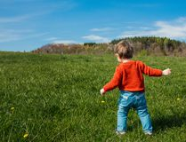 Little toddler boy in red sweater on spring time meadow. In mountains stock image