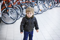 Little toddler boy in a shopping mall Royalty Free Stock Images