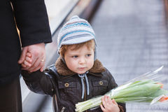 Little toddler boy in a shopping mall Royalty Free Stock Photography