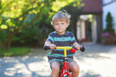 Little toddler boy of 3 years having fun on his  bicycle Stock Images