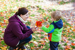 Little toddler boy and young mother in the autumn park Stock Image