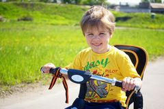 Little toddler child on bicycle royalty free stock photos