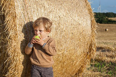 Little toddler eating apple with a big hay bale on field Stock Images