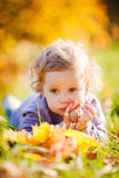 Little toddler girl in autumn park Royalty Free Stock Photo
