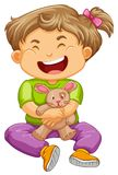 Little toddler girl with bunny doll. Illustration Stock Photography
