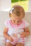 Little Toddler Girl Drinking Lemon Water Royalty Free Stock Images