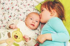 Two cute kids portrait royalty free stock photos