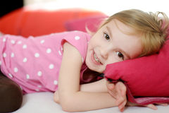 Little toddler girl in pajamas Stock Images