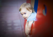Little toddler girl on the playground Royalty Free Stock Images