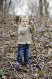 Little toddler girl playing with a stick Stock Photos