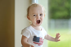 Little toddler girl shouting Royalty Free Stock Photos