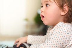 Little toddler girl using her computer Stock Photos
