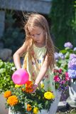 Little toddler girl watering flowers with a Royalty Free Stock Images