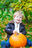Little toddler kid boy with big pumpkin in garden Royalty Free Stock Photography