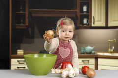 Little toddler in the kitchen Royalty Free Stock Photo