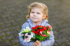 Little toddler lovely girl with red and white ranunculus flowers in spring garden. Happy cute baby holding fresh. Colorful bouquet as gift for mother`s day for royalty free stock photography