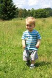 Little toddler on the meadow Royalty Free Stock Images
