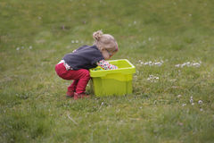 Little toddler playing with sand in the garden Royalty Free Stock Photo