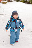 Little toddler playing with snow in winter Stock Photography