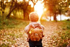 Free Little Toddler Walking In The Park At The Sunset Royalty Free Stock Image - 155502466