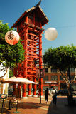 Little Tokyo, Los Angeles. A large torii dominates a public plaza in the heart of the Little Tokyo neighborhood of Los Angeles Royalty Free Stock Image