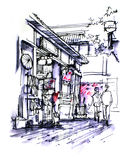 Little tokyo, japanese shopfront drawing Royalty Free Stock Image