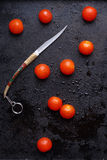 Little tomatoes on dark wet surfaces Royalty Free Stock Photos