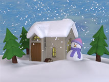 Little Toon Cottage 1. A Winter toon scene with a snowman Stock Image