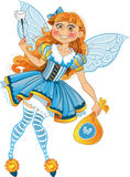 Little tooth fairy with bag of tooth with wings Stock Photo