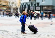 Little tourist in Europe, kids travel Stock Photos