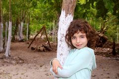 Little tourist girl posing in Mayan Riviera Jungle Royalty Free Stock Photos