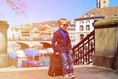 Little tourist travel in summer Switzerland Royalty Free Stock Photos