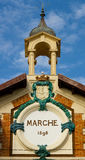 Little tower detail of the market of Menton Royalty Free Stock Image