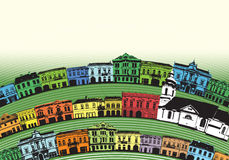 Little town. European town, classic buildings with circular streets and little church Stock Illustration