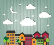 Little town. With trees cars and small houses Royalty Free Stock Photos