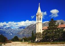 Little town at the coast of Boka Kotor bay Boka Kotorska, Montenegro, Europe stock photos
