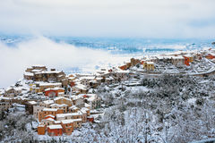 A little town covered by snow Stock Images