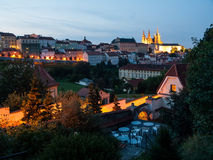Little Town and Hradcany Castle in the evening Royalty Free Stock Image