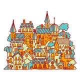 Little town vector illustration with cartoon houses in the street Stock Photos