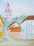 Little town - original watercolor painting Royalty Free Stock Image