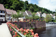 Little town and river in northern Black Forest Stock Photography