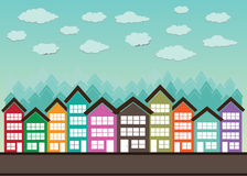 Little Town Townhouses  and home design Royalty Free Stock Photos