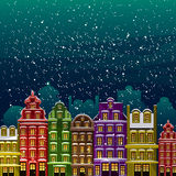 Little town under the snow. Old houses at night in Christmas eve. Vector illustrated greeting card, post card, invitation. Envelopment, poster background Royalty Free Stock Photo