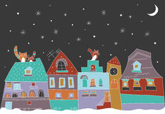 Little town at the winter. Royalty Free Stock Photo